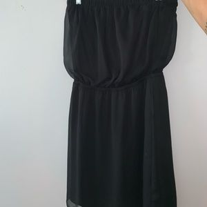 Black Sinched Strapless Dress